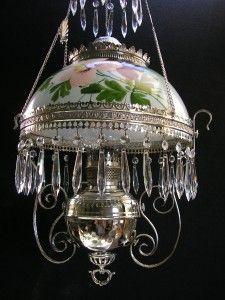Bradley & Hubbard Nickel Hanging Oil Lamp Kerosene Lamp with Hand Painted Shade bears 1888 patent dates