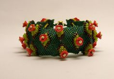 Glass Bracelets – Flower garden bracelet- red and green – a unique product by DarkEyedJewels on DaWanda Handmade Jewellery, Unique, Bracelets, Glass, Garden, Flowers, Red, Etsy, Handmade Jewelry