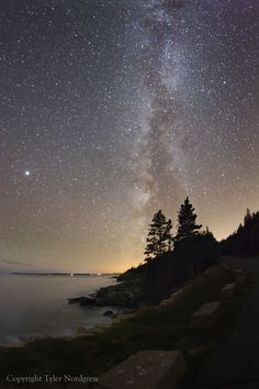 Acadia National Park -  The Park Loop Road along Acadia's coast is perhaps the darkest place within this eastern national park. In summer and fall the Milky Way is a common sight rising out of the ocean.