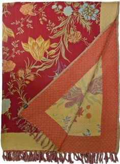 Floral Cotton Throw Red Turquoise Gold - Steel Paisley