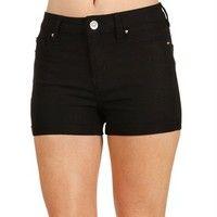 Black High Waisted Stretch Shorts