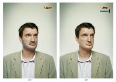 Bic uses the same photo to advertise their pens and their razors