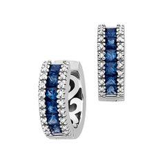 Sapphire and Diamond Hoop Earrings in 14K White Gold
