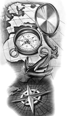 65 Amazing Compass Tattoo Designs and Ideas # .- 65 erstaunliche Kompass Tattoo Designs und Ideen … 65 Amazing Compass Tattoo Designs and Ideas - Clock Tattoo Design, Compass Tattoo Design, Tattoo Sleeve Designs, Sleeve Tattoos, Tattoo Clock, Compass And Map Tattoo, Map Compass, Compass Tattoo Drawing, Pirate Compass