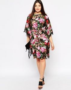 Enlarge ASOS CURVE Fringed Kimono Dress In Floral