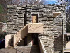 """""""Falling Water"""" West stairs and terrace Architecture Art Design, Education Architecture, Architect Design, Amazing Architecture, Frank Lloyd Wright Buildings, Frank Lloyd Wright Homes, Falling Water House, Falling Waters, Modern Buildings"""