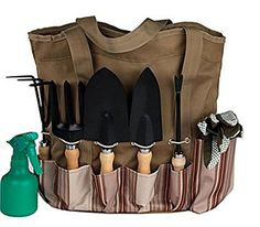 Scuddles 7 Piece Garden Tools Set with 7 Gardening Tools Digger Weeder Rake Trowel Pruners Transplanter Garden Tote Bag and Gloves ** Check out the image by visiting the link.