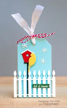 Let It Snow - christmas tag with bird, fence and birdhouse