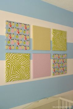 Obviously cover the cork board with different fabrics but like this idea