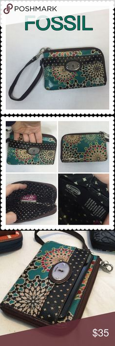 👜 FOSSIL Wristlet 👜 FOSSIL Key-Per Wristlet 👜 Leather and coated canvas, hold an iPhone 7 in outer pocket. Inside is a pocket and slots for 3 cards. Lovely and convenient size. Fossil Bags Clutches & Wristlets