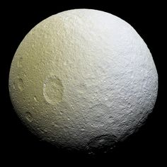 This enhanced-color mosaic of Saturn's icy moon Tethys shows a range of features on the moon's trailing hemisphere: NASA/ JPL -Caltech/Space Science Institute