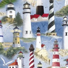 1/2 Yard Quilt Fabric By The Sea Nautical Fabric Ocean Lighthouses | auntiechrisquiltfabric - Craft Supplies on ArtFire
