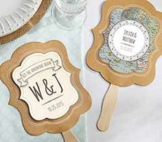 Personalized Kraft Fan - Travel and Adventure (Set of Aspen-These compass-and-map-detailed fans will steer you and your guests in the right direction at your wedding! Created by Kate Aspen, these adventure-inspired pieces come in a kraft pap Wedding Favors Unlimited, Destination Wedding Welcome Bag, Wedding Fans, Wedding Welcome Bags, Wedding Favors For Guests, Unique Wedding Favors, Unique Weddings, Wedding Ideas, Dream Wedding