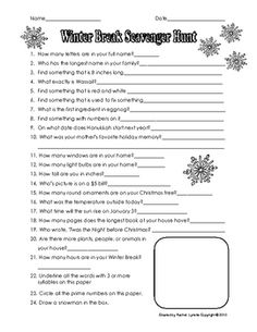 Free Winter Break Scavenger Hunt
