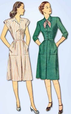 1940s Vintage Simplicity Sewing Pattern 1381 WWII Misses Shirtwaist Dress Sz 14
