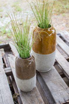 Set of 2 Ceramic Vases Yellow & Grey