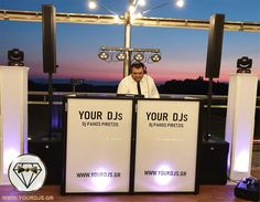Wedding dj booth with string lights at premium wedding in Greece Dj Booth, Greece Wedding, Wedding Parties, Wedding Music, Thessaloniki, String Lights, Party, Green Houses, Wedding Showers