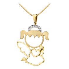PINGENTE ANJO REZANDO Em ouro amarelo, com 9 diamantes. Um espetáculo. Acesse: www.missjoias.com.br #missjoias #aquitem #vempramiss #luxo #joias #diamante #anjo #loveangels