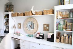 Decorative beadboard with a shelf above and lots of white paint marry disparate office furnishings that now seem tailor-made for each other.