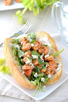 Shake up your grill routine with this Grilled Buffalo Shrimp Po'Boy! #spicy