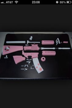 Hello Kitty AR 15. I actually hate pink or otherwise girl-ified guns and would never buy or build this, but I have to admit it's kind of awesome!