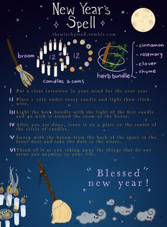 """thewitchystuff: """"New Year's Spell *:・゚✧ This spell is to start the year with a fresh look on things and to take away whatever old things are still lurking in your life, it's a cleanse for you and your space and a lot of good wishes for you! Witch Spell Book, Witchcraft Spell Books, Magick Spells, Wish Spell, Potions Recipes, Witch Rituals, Witch Potion, Under Your Spell, Eclectic Witch"""