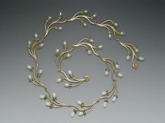 Custom Made Branch Necklace with Pearls and Peridot by Ellen Vontillius Jewelry