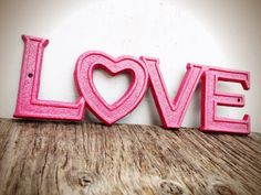 BOLD sparkly glittered hot pink retro LOVE sign // shabby chic metal // valentines heart girls teen room decor by BOLDHOUSE on Etsy https://www.etsy.com/listing/168205711/bold-sparkly-glittered-hot-pink-retro