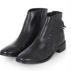 TopShop Kit Flat Fringe Leather Booties NWOT TopShop Kit Flat Fringe Leather Booties. Euro size 39.  No imperfections! Topshop Shoes Ankle Boots & Booties