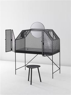 FAYE TOOGOOD Cage For Birds, United Kingdom, 2011 Steel, Patinated Mesh, Mirror, Iridescent Glass 140 x 70 x 125 cm (55 1/8 x 27 1/2 x 49 1/4 in.)