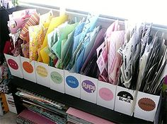 Color Sorted Scraps - great way to organize paper scraps!