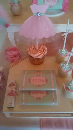 Ballerina birthday party cupcakes and cake pops!  See more party ideas at CatchMyParty.com!