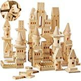 Piece Set} Wooden Castle Building Blocks Set FAO SCHWARZ Toy Solid Pine Wood Block Playset Kit for Kids, Toddlers, Boys, and Girls, Fantasy Medieval Knights and Princesses with Bridges and Arches Fort Building Kit, Build A Fort, Building Toys, Magnetic Building Blocks, Wooden Building Blocks, Wooden Blocks, Fort Kit, Wooden Castle, Lincoln Logs