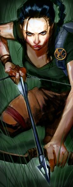 Okay, I know this is suppose to be katniss, but seriously my first reaction was, when did Laura Croft start using a bow and arrow?! Please tell me I'm not the only one!