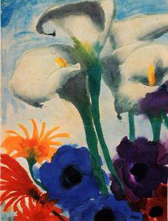 Emil Nolde, Calla Lilies Flower, 1966.                                                                                                                                                     More