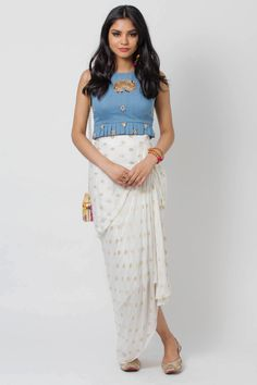 denim crop top with elephant and ghungroo embellishment Customization options: N/A Estimated shipping: 6 weeksCare instructions: Dry clean only Indian Fashion Dresses, Indian Designer Outfits, Designer Dresses, Fashion Outfits, Indian Designers, Designer Clothing, Women's Fashion, Kurta Designs, Blouse Designs