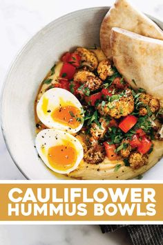 Jan 2020 - These Roasted Cauliflower Hummus Bowls are LIFE-CHANGING. A bed of garlicky creamy hummus, piled high with spiced roasted cauliflower, and a speckling of fresh lemony tomatoes and herbs. Avocado Recipes, Veggie Recipes, Vegetarian Recipes, Dinner Recipes, Cooking Recipes, Healthy Recipes, Vegetarian Options, Vegan Meals, Potato Recipes