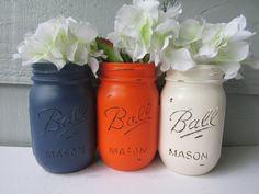 FALL-Painted and Distressed Ball Mason Jars- Dark Navy Blue, Orange, Cream-Set of 3-Neutrals, Flower Vases, Rustic Wedding, Centerpieces