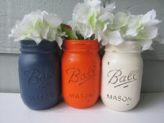 FALL-Painted and Distressed Ball Mason Jars- Dark Navy Blue, Orange, Cream-Set of 3-Neutrals, Flower Vases, Rustic Wedding, Centerpieces