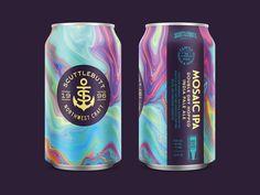 Mosaic IPA by Chad Gowey for Blindtiger Design on Dribbble Food Packaging Design, Beverage Packaging, Coffee Packaging, Bottle Packaging, Chocolate Packaging, Product Packaging, Craft Beer Labels, Beer Label Design, Drink Labels