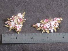 Vintage Flower and Rhinestone and Enameled 1950s by nedaoriginals