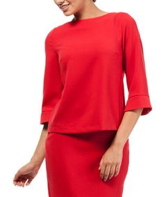 Look what I found on #zulily! Red Zipper-Back Flare-Sleeve Top #zulilyfinds