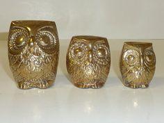 Vintage Brass Owl Set Graduated Owl Family by labaublesandbags, $28.00