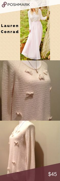 Lauren Conrad Bow Scoop-neck Sweater 🎀 This adorable sweater is perfect for winter. Not only does it have cute bows all over, it is also so soft and comfy! The back features another Bow which you can tie and a keyhole design. Size: Large ; 57% Cotton, 28% Acrylic and 15% Polyester. LC Lauren Conrad Sweaters Crew & Scoop Necks