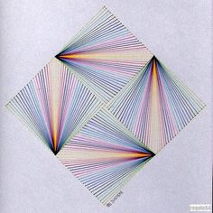 #geometry #symmetry #pattern #square #mathart #string #art #ink Illusion Drawings, Illusion Art, Paper Embroidery, Japanese Embroidery, Flower Embroidery, Embroidered Flowers, Embroidery Stitches, Doodle Art Designs, Geometric Drawing