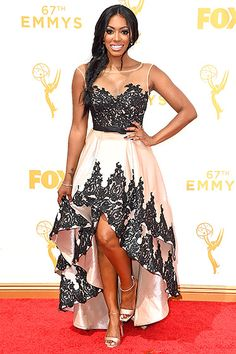 Porsha Williams in her high-low lace dress at the 2015 Emmy Awards.