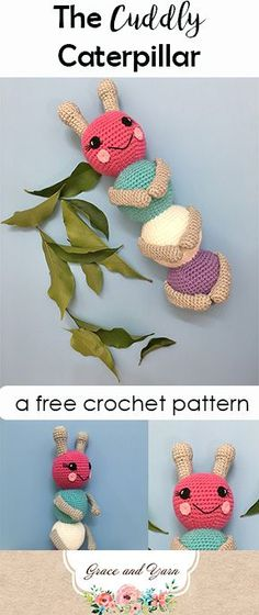 Make your own Cuddly Caterpillar! This free crochet pattern is beginner friendly and a great way to use up some of your leftover yarn stash!