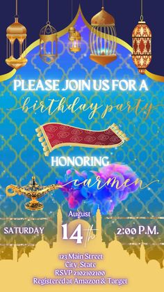 Amazing Animated Invites Sweet 16 Invitations, Graduation Party Invitations, Engagement Party Invitations, Bridal Shower Invitations, Invites, Aladdin Birthday Party, Aladdin Party, Glow Party, Disco Party