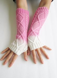 Pink Knitted Arm Warmers- Ombre Fingerless Knit Gloves- Tie Dye Gloves- Womens Gloves