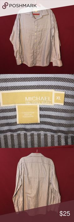 Men's blue on blue striped button-down In excellent condition no signs of wear. Extra large. 100% cotton. Michael by Michael Kors MICHAEL Michael Kors Shirts Dress Shirts